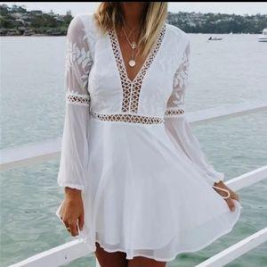 Boho Lace Trim Deep Neck Chiffon Mini Dress